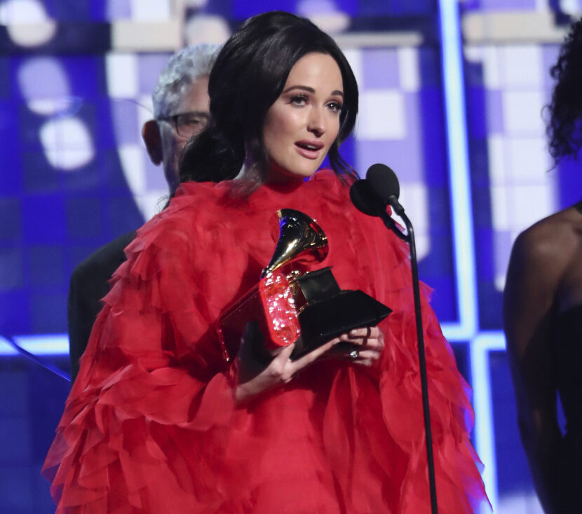 "Kacey Musgraves accepts the award for album of the year for ""Golden Hour"" at the 61st annual Grammy Awards on Sunday in Los Angeles."