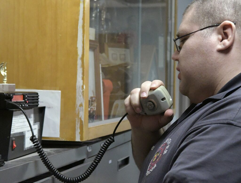 Gardiner firefighter Jesse Thompson answers a call Feb. 7 in Gardiner.