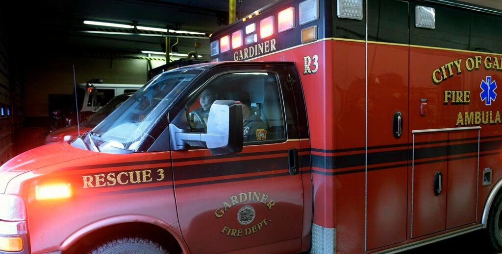 An ambulance from the Gardiner Fire Department responds to a call at the station Thursday in Gardiner.