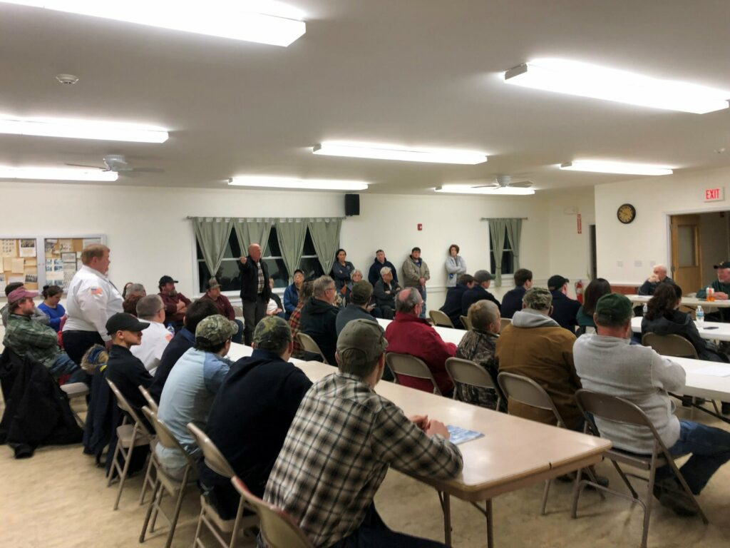 Thorndike selectmen meet Wednesday night to discuss concerns that Waldo County officials have with the town's fire department. All but one of the department's firefighters, seen seated here at tables, got up and resigned in protest.