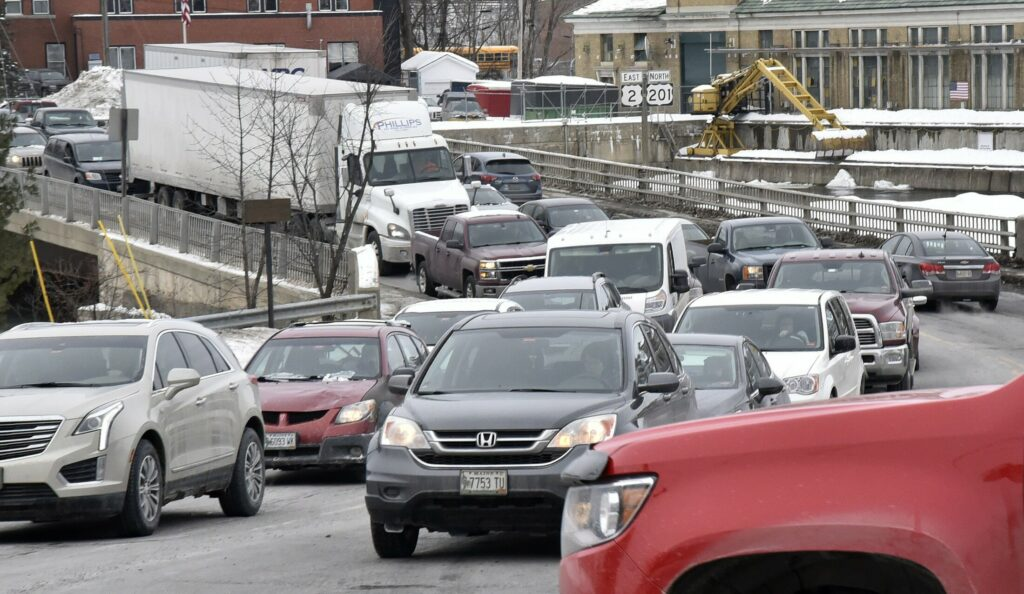 Traffice congestion extends in both directions at mid-afternoon Wednesday, when schools and area businesses close for the day, from the southern Margaret Chase Smith bridge in Skowhegan.