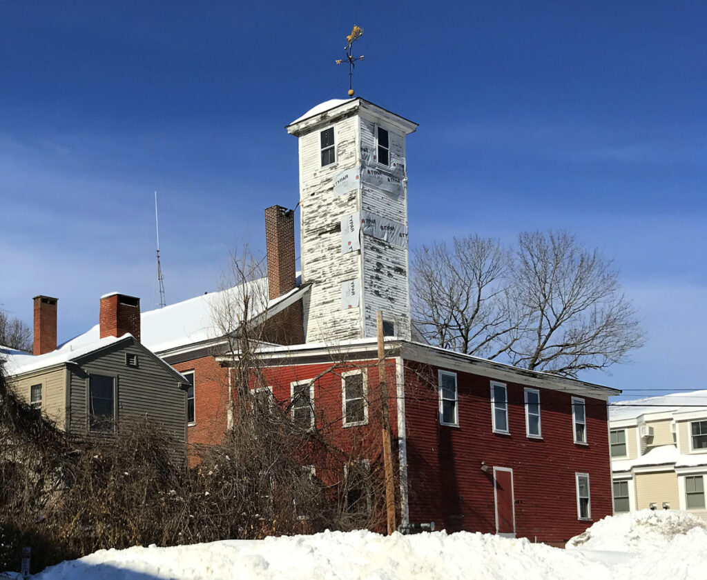 A view of the back side of the Hallowell fire station.