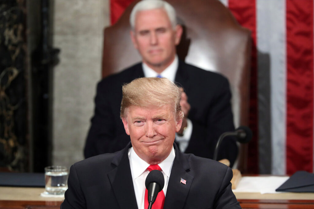 President Trump delivers his State of the Union address Tuesday night in Washington as Vice President Pence watches.