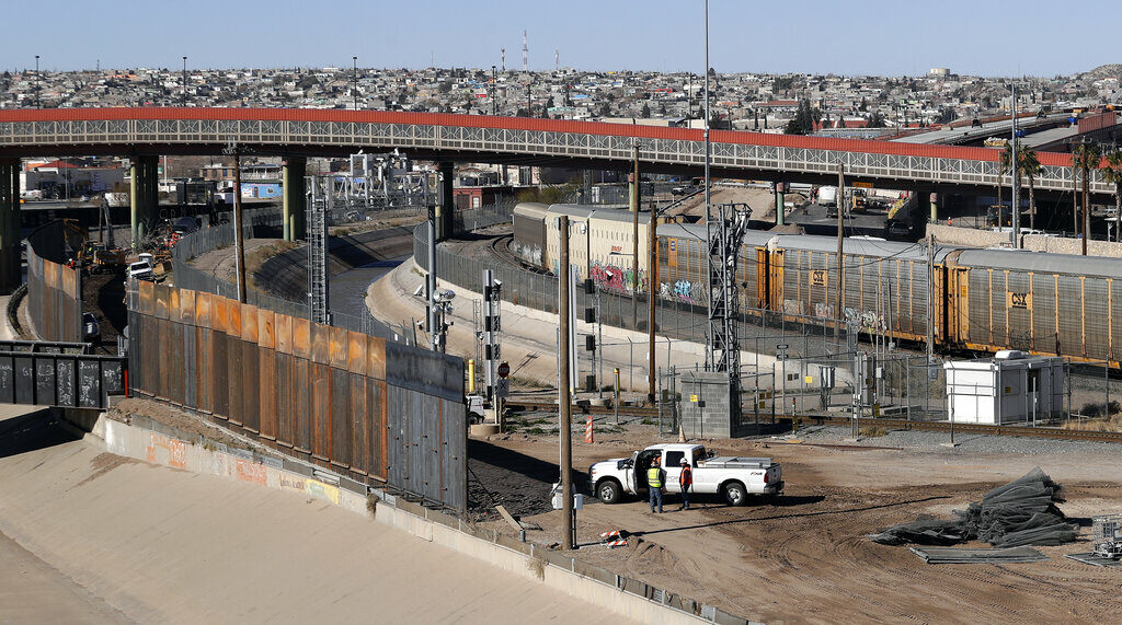 A new barrier is built along the Texas-Mexico border near downtown El Paso on Jan. 22, 2019. Such barriers have been a part of El Paso for decades and are currently being expanded, even as the fight over President Donald Trump's desire to wall off the entire U.S.-Mexico border.