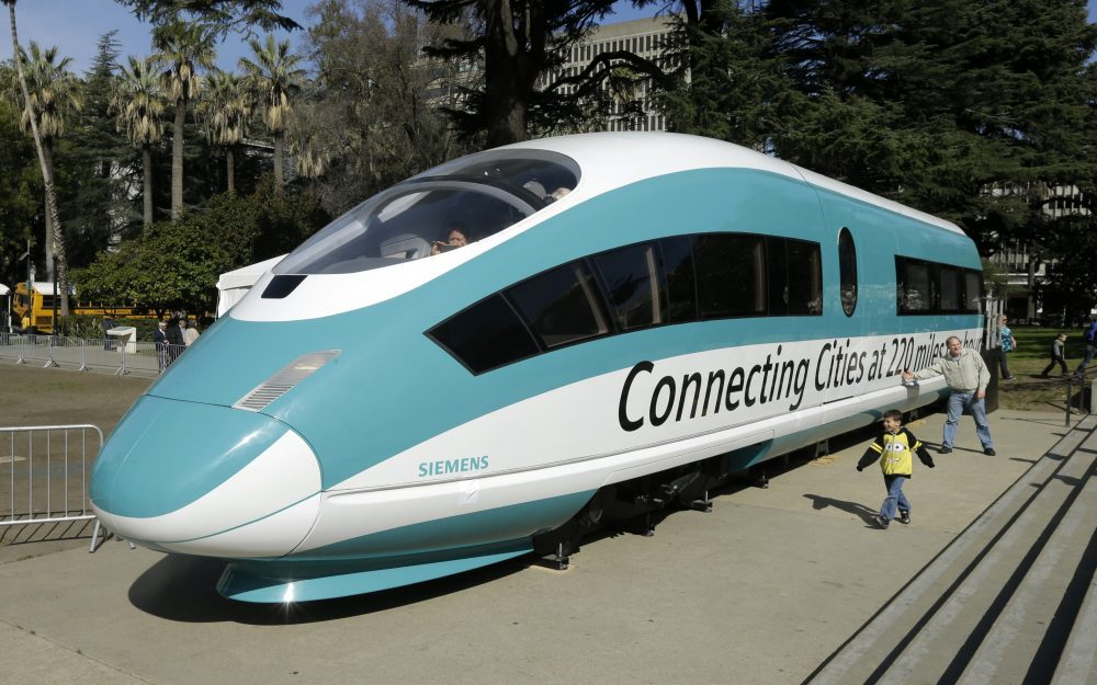 This Feb. 26, 2015, photo shows a full-scale mock-up of a high-speed train, displayed at the Capitol in Sacramento, Calif.