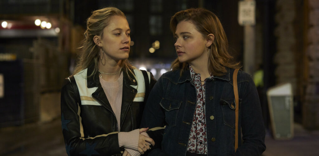 "Maika Monroe, left, stars as Erica and Chloë Grace Moretz as Frances in ""Greta,"" a Focus Features release."