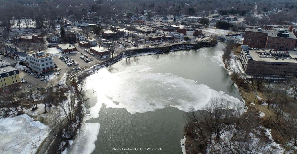 The ice formation on the Presumpscot River in Westbrook, as it appeared Wednesday, can't really be called a disk anymore, as recent warm weather has taken a toll on its shape.