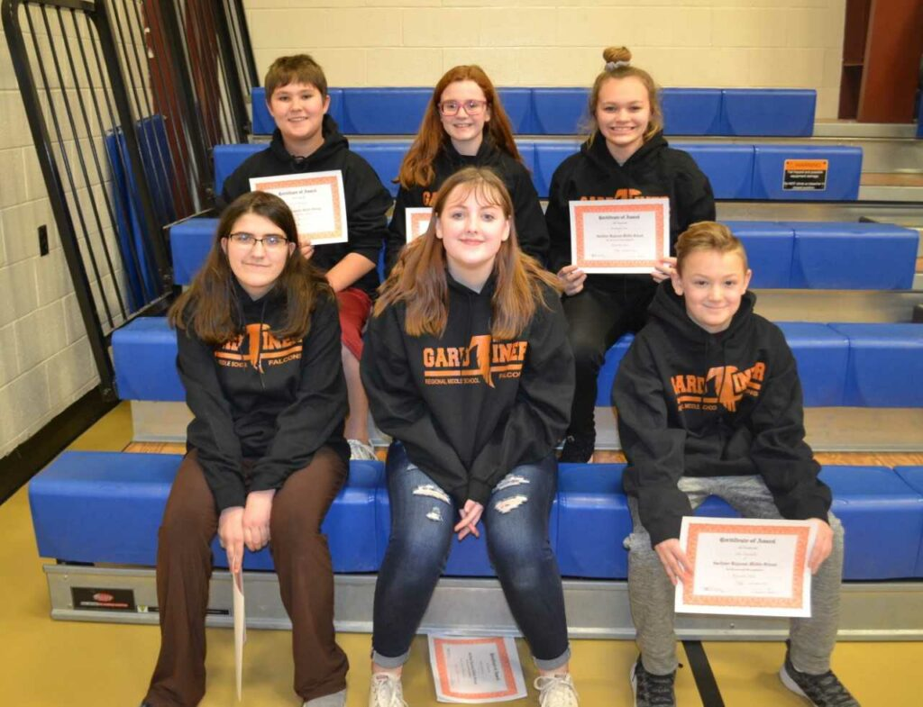 Gardiner Regional Middle School December and January Students of the Month, front from left, are Sabria Vincent, Kayle Henderson and Max Douvielle. Back from left are Connor Fairservice, Madeline Seed and Brookelynn Gero.