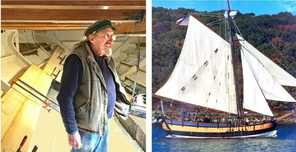 Left: Master shipwright Leon Poindexter below decks on the Providence replica during her reconstruction. Right: Providence full-scale replica, under full sail.