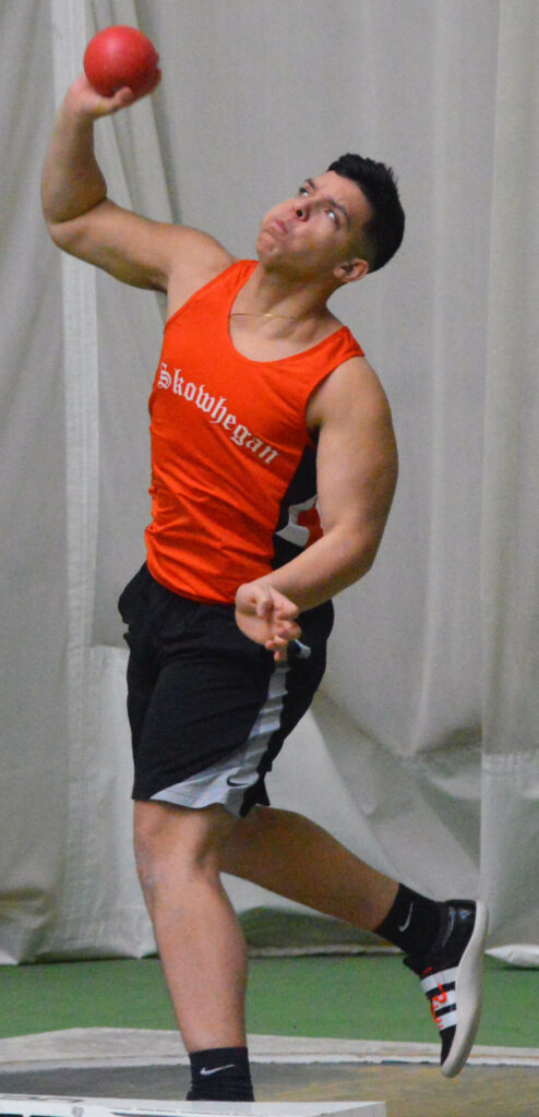 Skowhegan's Jamal Dourant throws the shot put during the KVAC championships Saturday at Farley Field House at Bowdoin College.