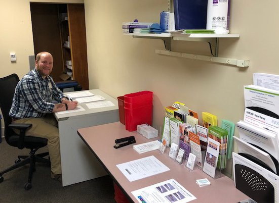 Shane Gallagher, program manager for MaineGeneral Health s Drug Overdose Prevention & Harm Reduction Programs, works in his office Friday at Thayer Center for Health on North Street in Waterville. February 15, 2019 Needles and other items available at MaineGeneral Health s Drug Overdose Prevention & Harm Reduction Programs at Thayer Center for Health on North Street in Waterville.