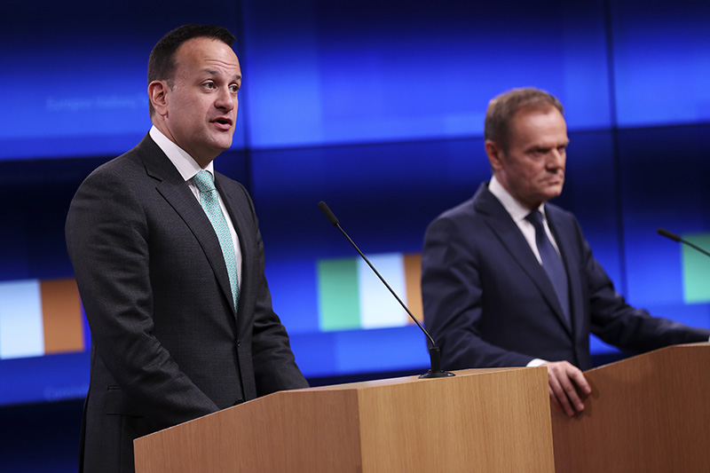 Irish Prime Minister Leo Varadkar, left, makes a joint statement with European Council President Donald Tusk in Brussels on Wednesday.