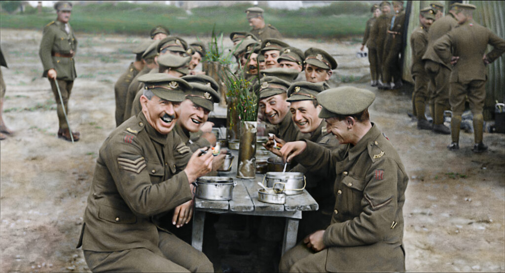 "Photo courtesy of Warner Bros. Pictures  Caption: A restored and colorized image showing a moment from Peter Jackson's acclaimed WWI documentary ""They Shall Not Grow Old,"" a Warner Bros. Pictures release."