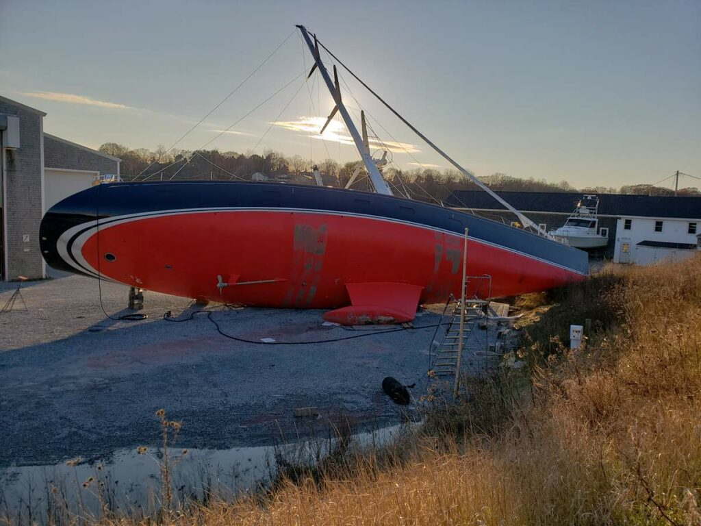 The Vesper was on its side after an incident at the Lyman Morse boatyard in November.