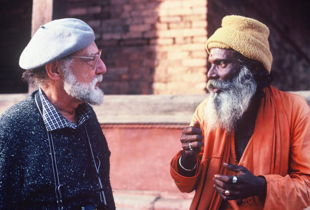Photographer and filmmaker Ray Witlin and one of his subjects, a saddhu (holy man) in Nepal. The Wiscasset Library will show works of Witlin.