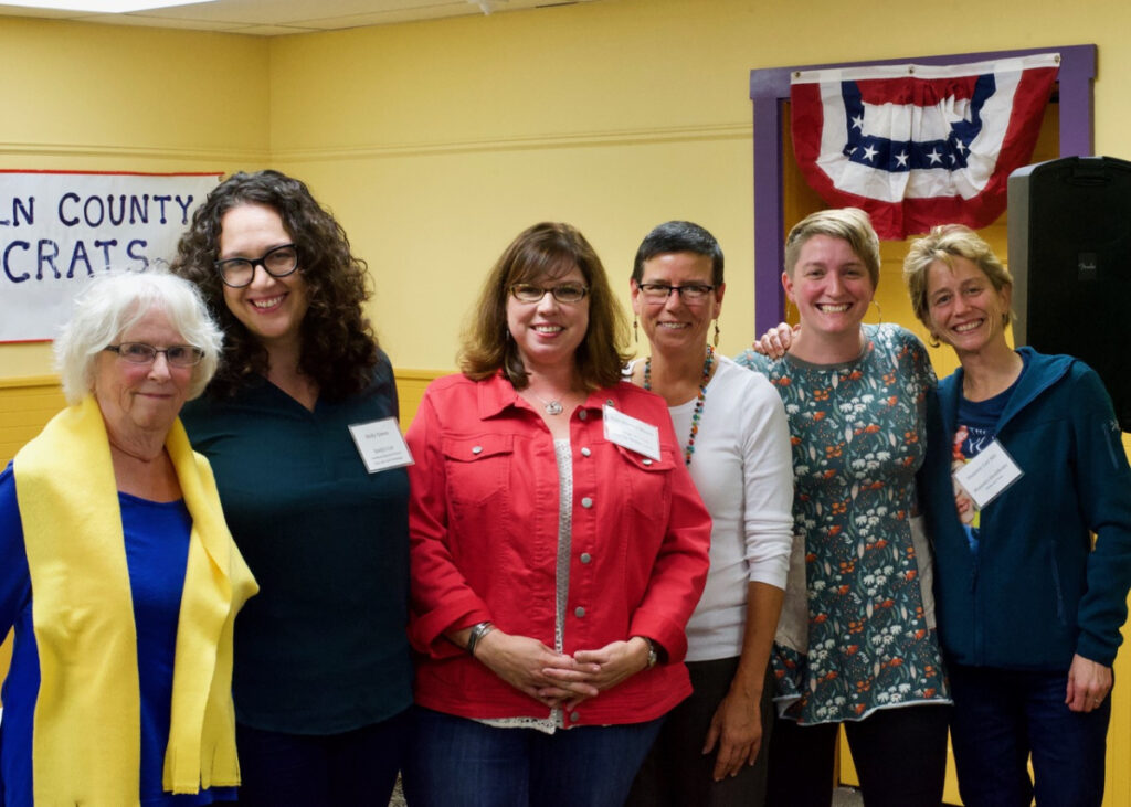 """Six women from across New England participated in the """"Power of Women in Politics in 2018: Voting, Running, Resisting"""" panel discussion at the LCDC monthly meeting on Sept. 26. From left are MaryRae Means, Molly Cowan, Kelli Whitlock Burton, Eliza Townsend, Cait Vaughan and Shannon Carr, MD."""