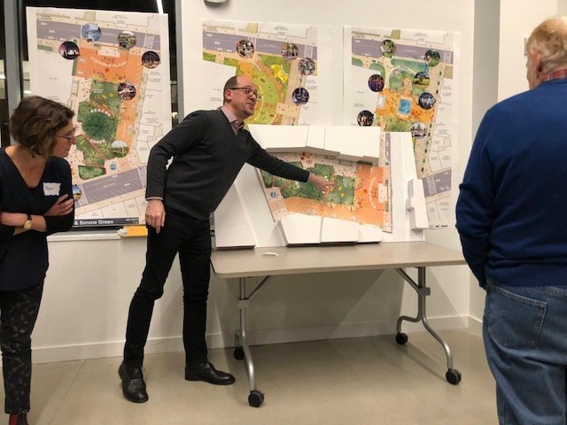 Members of the community gather Jan. 16 at the Chace Community Forum in the Bill and Joan Alfond Commons as Neil Kittredge, an architect with Beyer Blinder Belle, describes the three final design possibilities for Castonguay Square. The public can get a look at the final design concept at 6 p.m. Tuesday at the Chace Forum.
