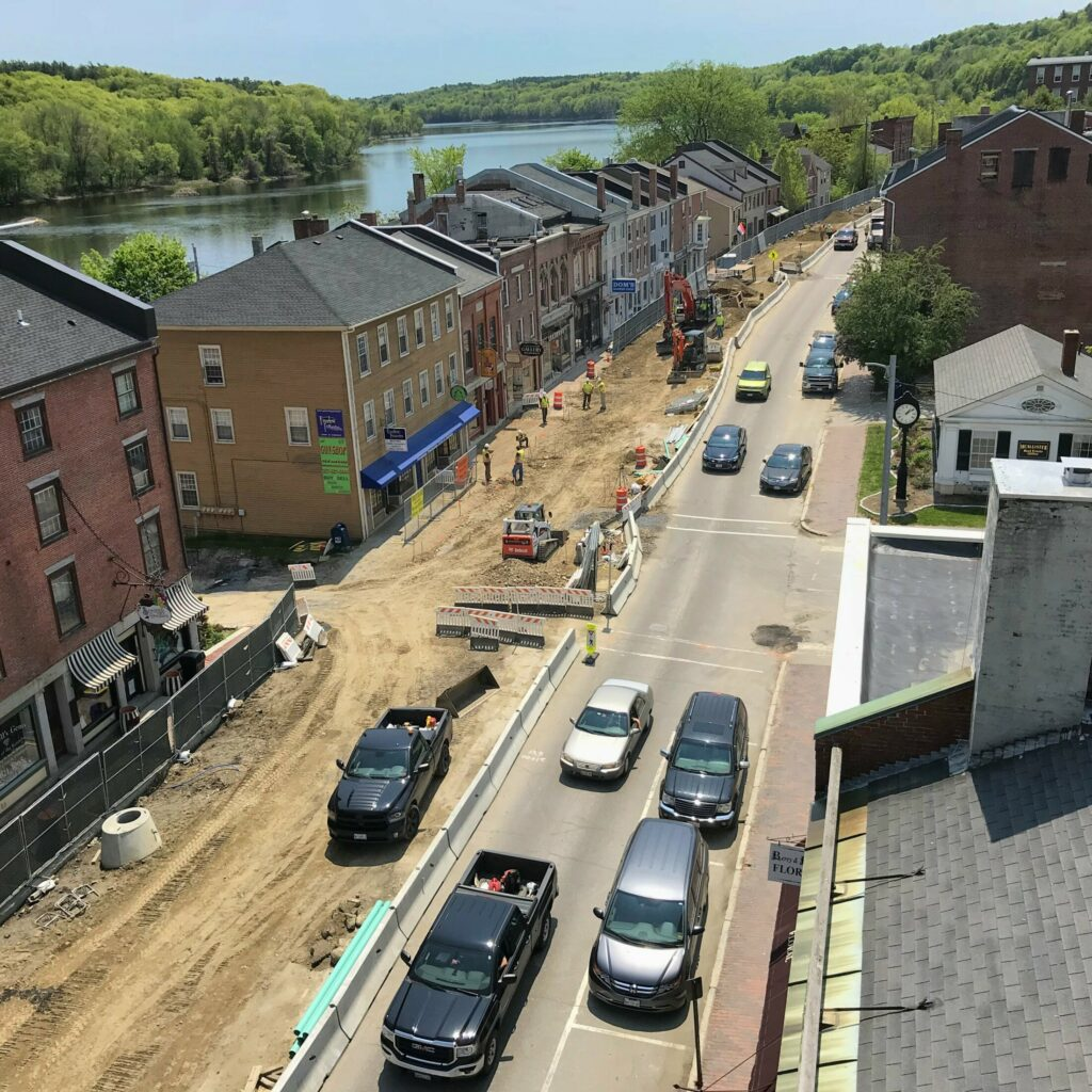 Construction on Water Street on May 23, 2018, in downtown Hallowell.