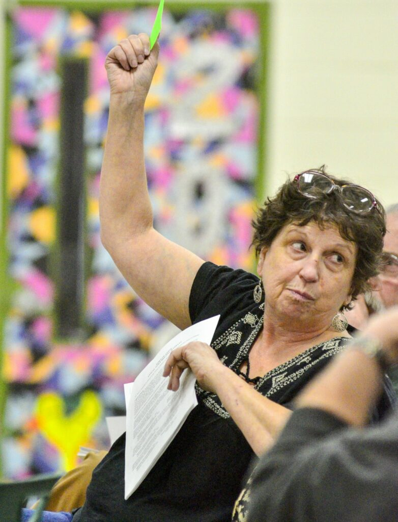 Janice Miller holds up a card to vote Saturday during the Anson Town Meeting, held in the Carrabec High School gymnasium.