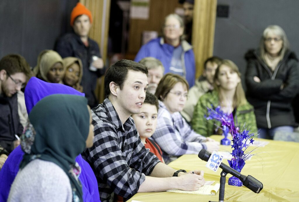 Ben Chin of Lewiston speaks during a community dialogue on racism and sexism at St. Mary's Nutrition Center in Lewiston on Saturday. Chin announced that he would not be running for Lewiston mayor in November. (Sun Journal photo by Daryn Slover)