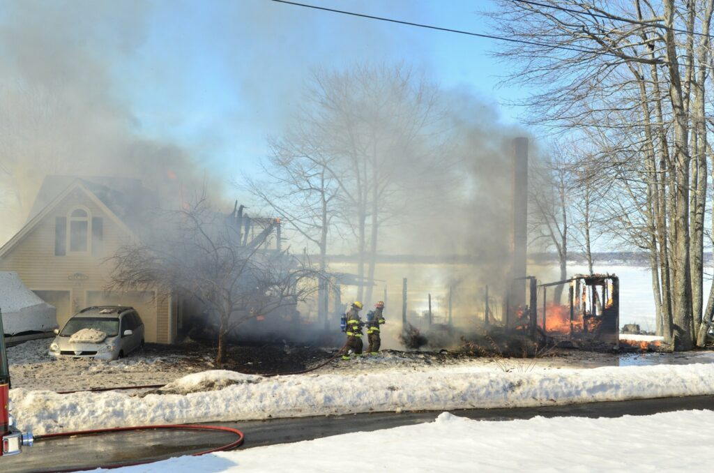 Fire destroyed a home off Poppy Lane in Sidney on Tuesday morning.