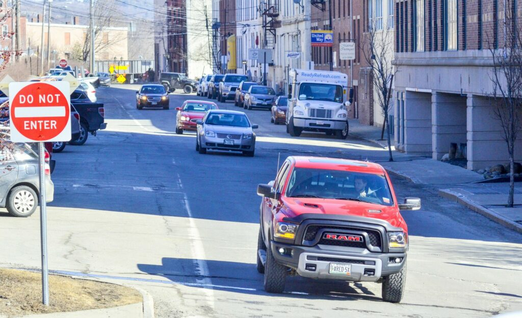 This photo, taken Wednesday, shows one-way traffic on Commercial Street in downtown Augusta.