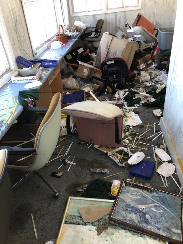 A building at McGuire Field, which serves a press box and storage space, was broken into around midnight Tuesday. Windows were broken, lights and electrical systems were destroyed, among other damage at the building.