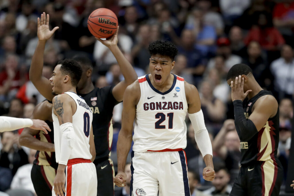Gonzaga forward Rui Hachimura celebrates after scoring against Florida State during the first half an NCAA men's college basketball tournament West Region semifinal Thursday, March 28, 2019, in Anaheim, Calif. (AP Photo/Marcio Jose Sanchez)