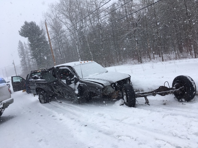 A 2003 Ford F-350 pickup truck collided head-on Sunday in Canaan with a Toyota Corolla, causing serious injuries. The F-350 was being towed by a Ford F-150 on snow-covered Route 2 when it swerved into the oncoming lane and collided with the Corolla.