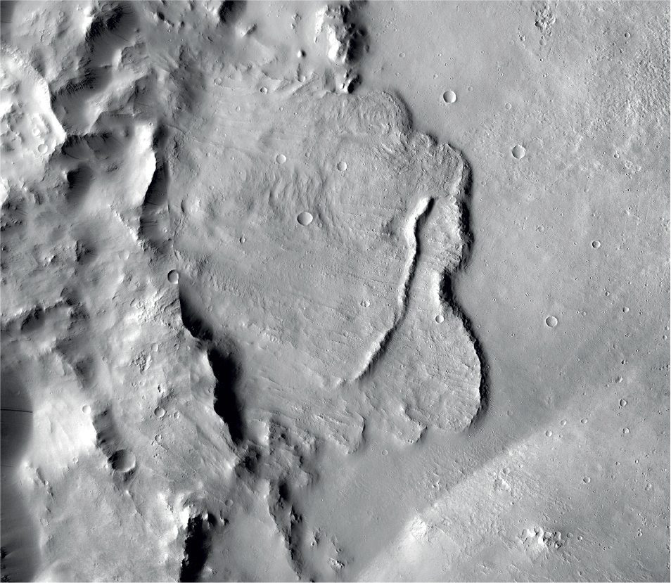 This undated photo provided by the European Space Agency, ESA, shows the surface of the Mars. Scientists say images of Martian craters taken by European and American space probes show there likely once was a planet-wide system of underground lakes.