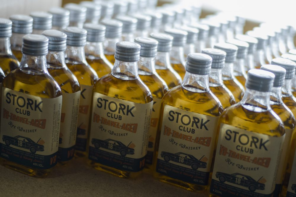 Bottles of a special edition of Stork Club rye whiskey stand in a storage room of the German whiskey maker Spreewood Distillerie in Schlepzig, Germany on Feb. 28, 2019.