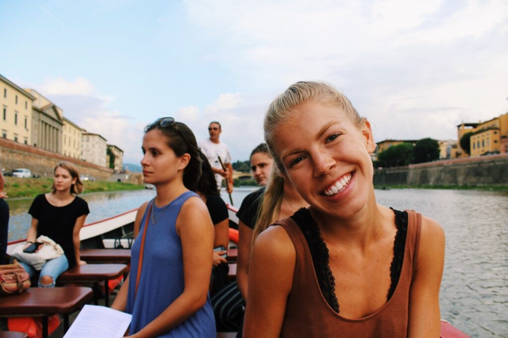 Winthrop graduate Jada Choate rides in a gondola on the Arno River in Florence, Italy, while studying abroad at International Studies Institute Florence during the fall 2018 semester.