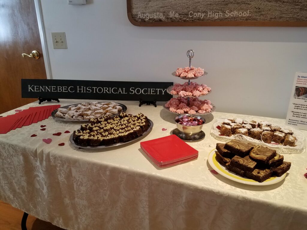 Dessert table at the Feb. 14 volunteer social at Kennebec Historical Society in Augusta.