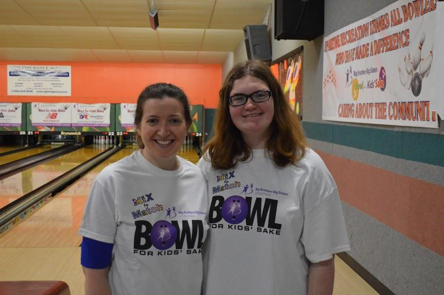 "Big Sister Brittany Kimball, left, and her ""Little"" Faith Wentzel bowled last year at Sparetime Recreation Center in Hallowell to support the organization that brought them together seven years ago. Big Brothers Big Sisters of Mid-Maine Bowl for Kid's Sake is registering teams now for its May events in Hallowell, Augusta and Skowhegan. To register or for more information, visit bbbsmidmaine.org, email mae@bbbsmidmaine.org or  call 592-4616."