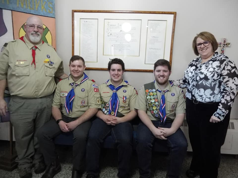 Adam DeWitt, 18, of Sidney, received his Eagle Scout medal, patch and certificate March 16 at St. Mark's Episcopal Church in Waterville. From left are John DeWitt, father of Eagle Scout sons Alex, Adam and Spencer DeWitt, and Sara DeWitt, mother.