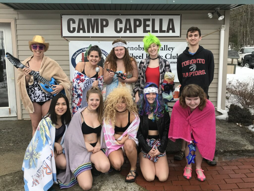Hall-Dale High School Key Club recently took part in polar plunge on Lake Phillips to benefit Camp CaPella in Dedham. In front, from left, are Aigul Muratova, Ella Schaab, Naomi Lynch, Sarah Benner and Savannah Strout. In back, from left, are Key Club Advisor Lydia Leimbach, Lauren Sylvester, Savannah Millay, Georgia Howe and Anthony Romano.