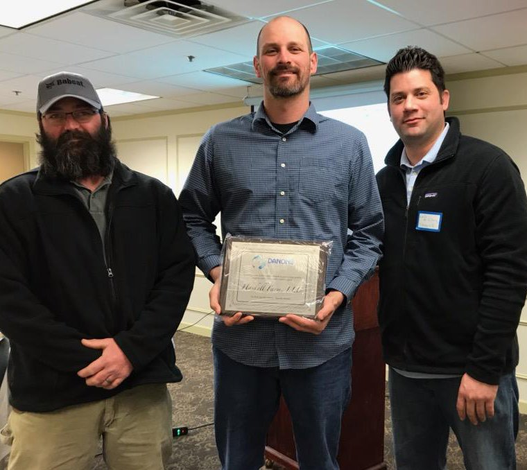 Haskell Farm in Palermo has been awarded a 2018 Top Ten National Quality Award from Danone North America. The farm was recognized as No. 5 in the United States for its commitment to producing quality organic milk. From left are Matt Avery, farm manager; Jesse Haskell, a farm co-owner; and Luis de la Cruz, senior manager, Danone North America.