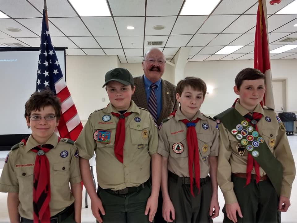 Front, from left are Tobias Crocker, Dresden Laqualia, Sam Bernier and Malahki Kornsey, with John Fortier in the back. The Scouts are members of Boy Scout Troop 436 in Waterville.