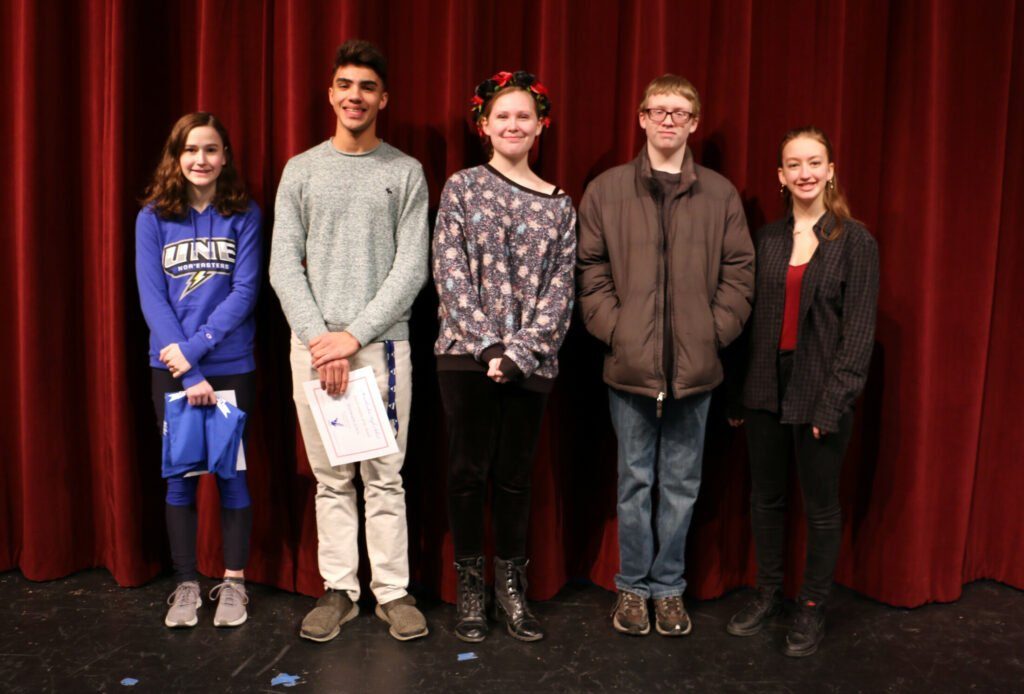 Messalonskee High School Feburary Students of the Month from left are Olivia Roy,  Daimian Lewis, Hanna Lavenson, Lukas Duquette and Ela Peterson.