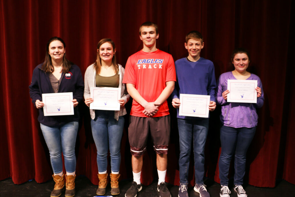 Messalonskee High School January Students of the Month from left are Kailey Pelletier, Gabby Smart,  Ben Edman, Caden Cote and Allyson Albert.