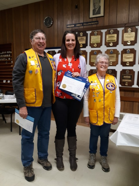 Whitefield Lions Club held an induction ceremony on March 14 for Michelle Boyer at the Lions Den in Coopers Mills. From left are Lion Barry Tibbetts, Lion Michelle Boyer, and First Vice Vice President Lion Donna Brooks.