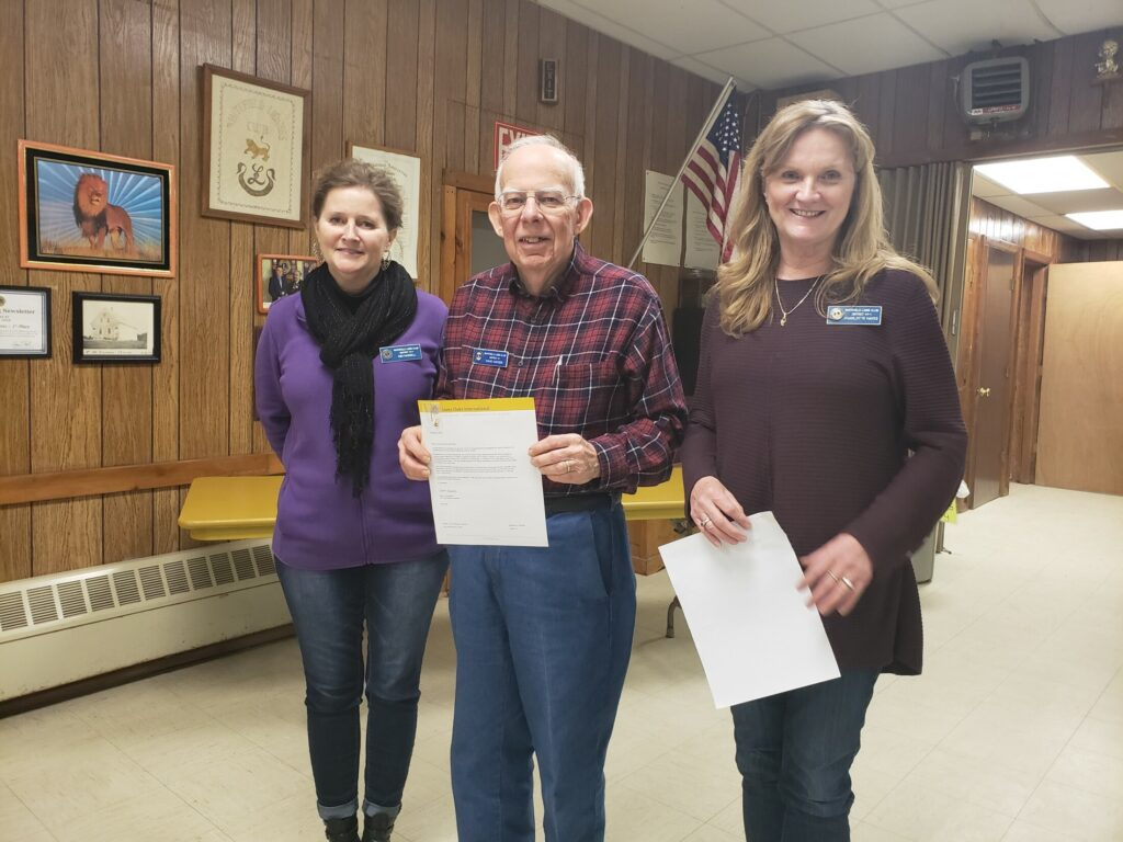 Whitefield Lions David Hayden and Charlotte Hayes were honored  for 10 years of service in the Whitefield Lions Club on Feb. 28 at the clubhouse in Coopers Mills. From left are Lions club president Kim Haskell, Lion David Hayden and Lion Charlotte Hayes.