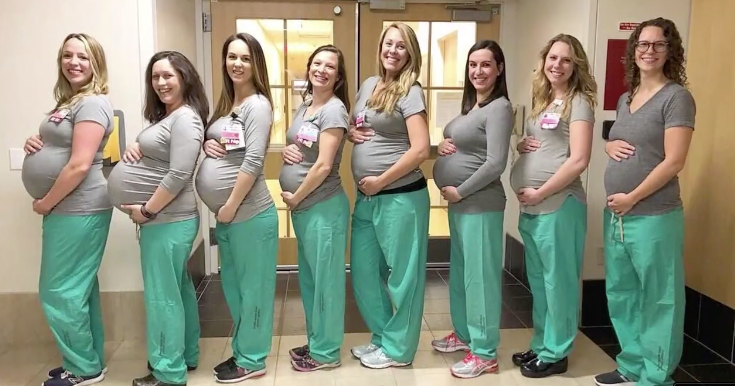 Nine maternity nurses at Maine hospital are due to make their own little deliveries