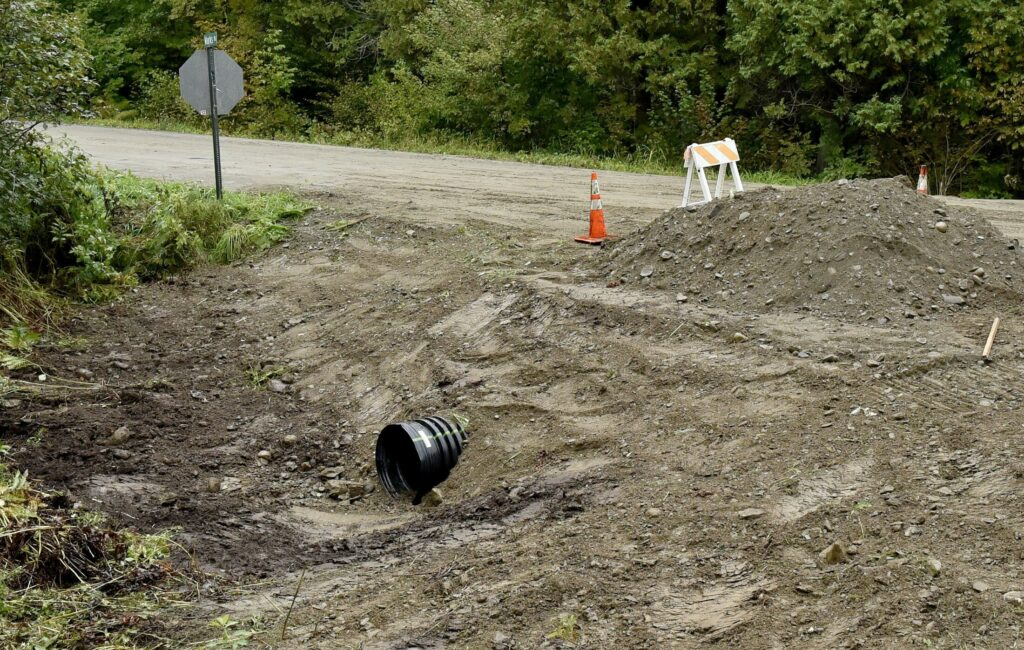 A new culvert was installed at the beginning of the Marks Road in Albion, pictured here on Sept. 25. Residents on the road have complained to town officials about the condition of the road. The biggest proposed budget increases for voters to decide on at Town Meeting on Saturday are related to road maintenance.