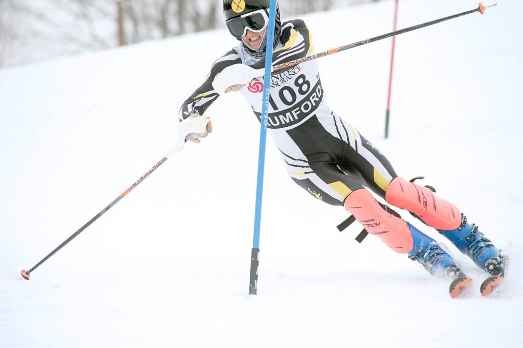 Maranacook's Robbie McKee cross skis during the Class B championship meet earlier this season at Black Mountain on Wednesday.