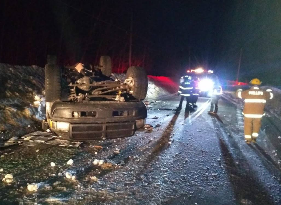 A pickup truck driven by Simone Bailey, 74, of Strong struck ice early Thursday and rolled over on River Road in Avon, State Trooper Jillian Monahan said.