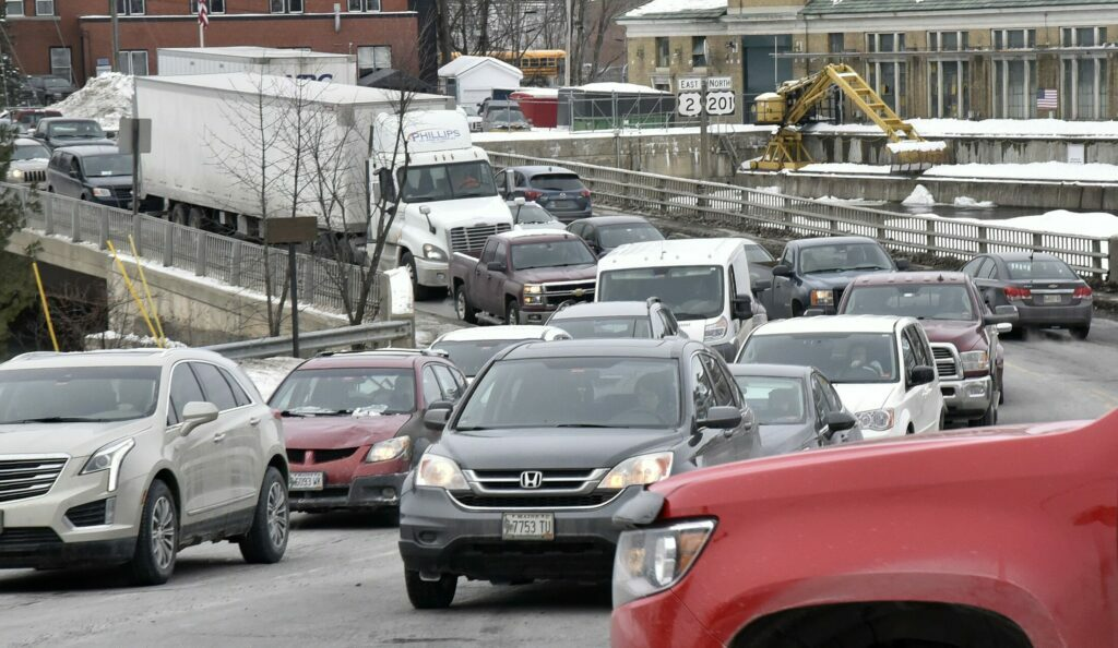 SKOWHEGAN,  ME-  FEBRUARY 27: Congested traffic meets traffic going both directions on to the southern Margaret Chase Smith bridge in Skowhegan at mid- afternoon when schools and area businesses close for the day on Wednesday, February 27, 2019. (Morning Sentinel photo by David Leaming/Staff Photographer)