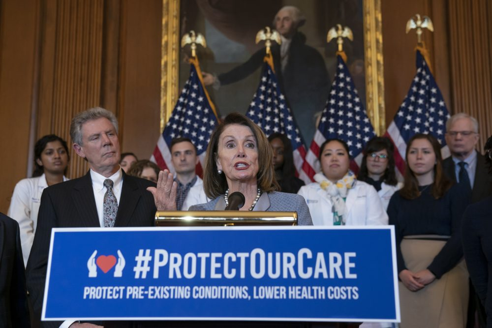 "Speaker of the House Nancy Pelosi, D-Calif., joined at left by Energy and Commerce Committee Chair Frank Pallone, D-N.J., speaks at an event to announce legislation to lower health care costs and protect people with pre-existing medical conditions, at the Capitol in Washington, Tuesday, March 26, 2019. The Democratic action comes after the Trump administration told a federal appeals court that the entire Affordable Care Act, known as ""Obamacare,"" should be struck down as unconstitutional. (AP Photo/J. Scott Applewhite)"