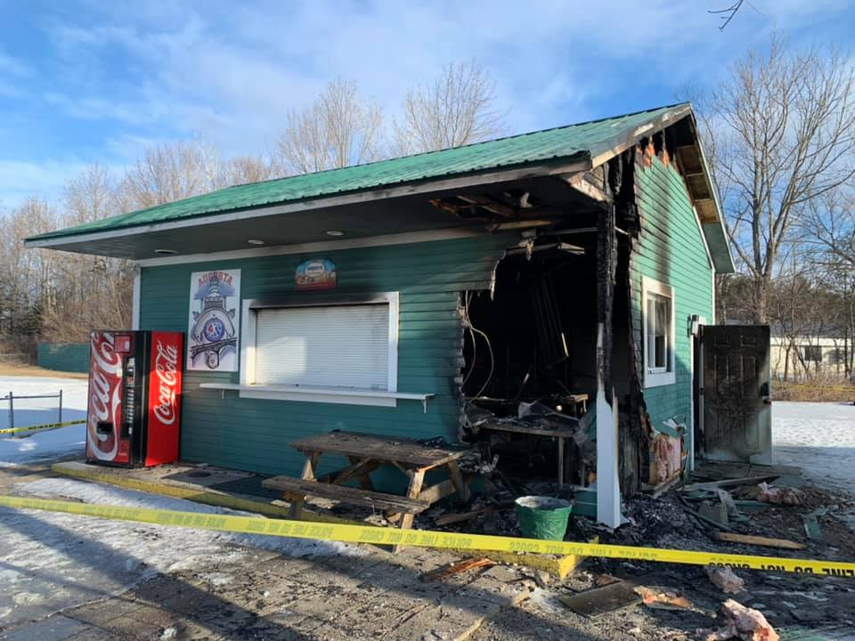 A concession stand at the Augusta Little League field off Piggery Road was damaged by fire Monday night.