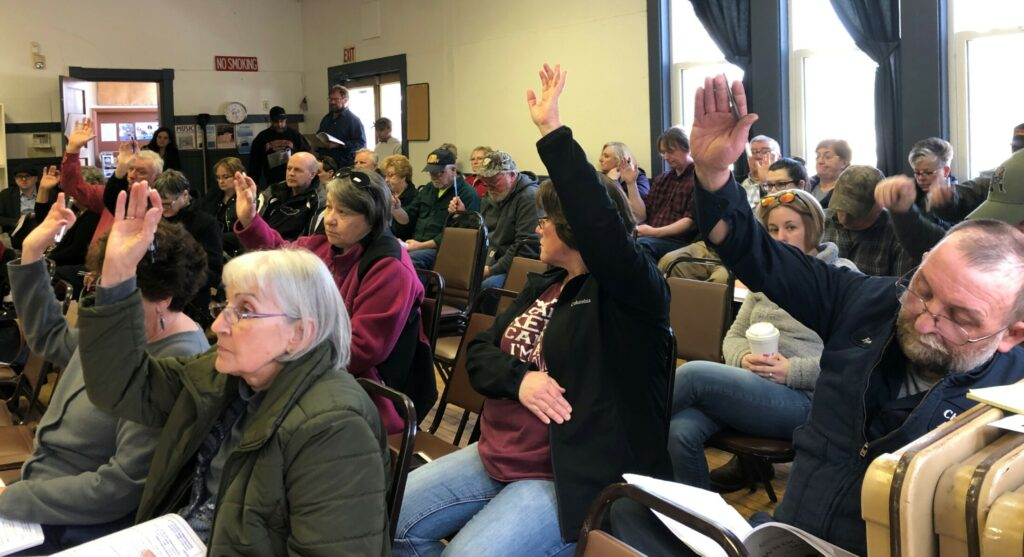 Burnham residents vote on an article in the town warrant at Saturday's annual Town Meeting. Over 35 citizens participated this year.